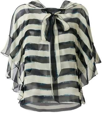 Alberta Ferretti striped pussybow blouse