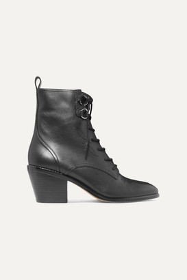 Diane von Furstenberg Dakota Lace-up Leather Ankle Boots - Black