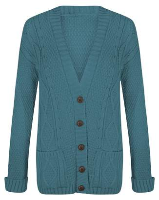Outofgas Womens Ladies Chunky Cable Knitted Long Sleeve Button Grandad Knitwear Cardigan - One Size(UK8-14) - (Mixed Fibres)