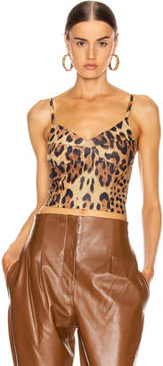 Sprwmn Bustier With Back Zip in Leopard | FWRD