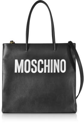 Moschino Black Signature Leather Vertical Tote