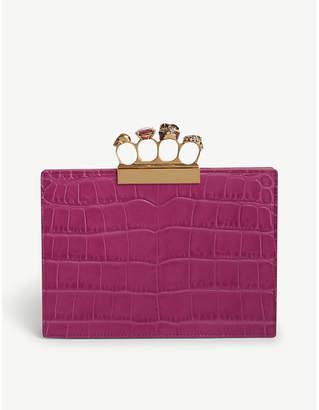 Alexander McQueen Deep Orchid Purple Crocodile Effect Jewelled Knuckleduster Leather Clutch Bag