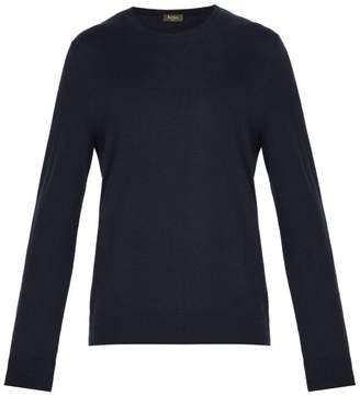 Berluti - Leather Trimmed Cashmere Sweater - Mens - Navy