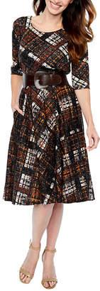 Rabbit Rabbit Rabbit DESIGN Design 3/4 Sleeve Plaid Fit & Flare Dress