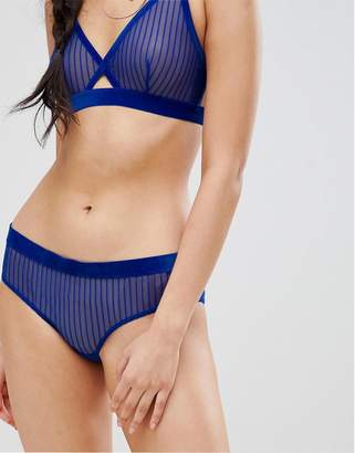 Weekday stripe mesh polly brief in blue