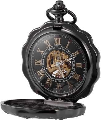 Hunter AMPM24 Men's Vintage Clover Flower Case Full Mechanical Hand-wind Skeleton Dial Pendant Pocket Watch + Gift Box WPK195