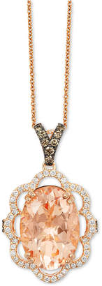 LeVian Le Vian Chocolatier Peach Morganite (4-1/3 ct. t.w.) and Diamond (1/2 ct. t.w.) Pendant Necklace in 14k Rose Gold, Created for Macy's
