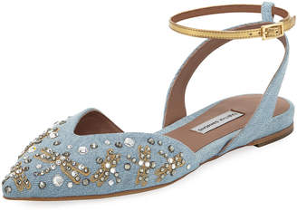 Tabitha Simmons Vera Embellished Dragonfly Denim d'Orsay Flat