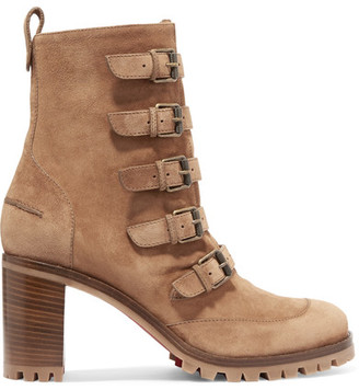 Christian Louboutin - Who Walks Buckled Suede Ankle Boots - Tan $1,245 thestylecure.com