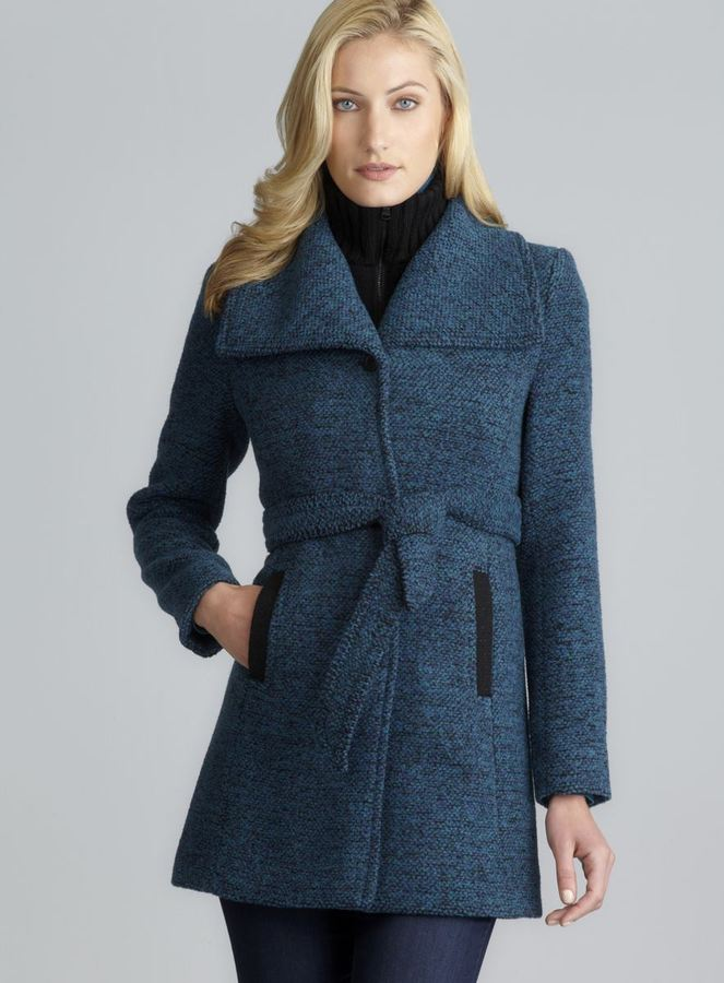 Andrew Marc New York Belted Tweed Coat With Detachable Funnel Neck Panel