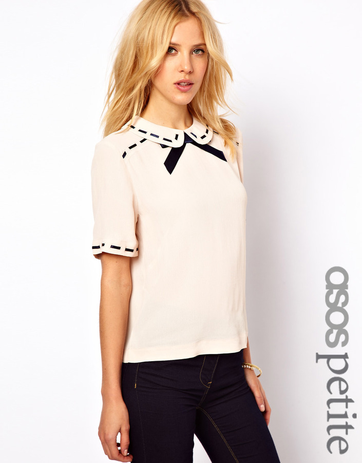 Asos Blouse With Ribbon Detail And Contrast Bow