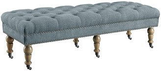 Linon Isabelle Washed Blue Linen 62In Bench