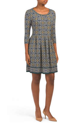 Elbow Sleeve Printed Jersey Dress