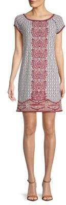 Max Studio Printed Cap-Sleeve Shift Dress