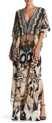 Shahida Parides Long Convertible Printed Silk Kaftan