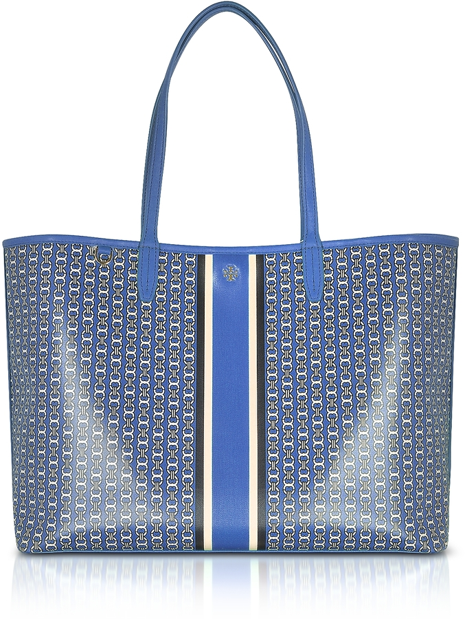 Tory Burch Tory Burch Blue Gemini Link Stripe Canvas Tote bag