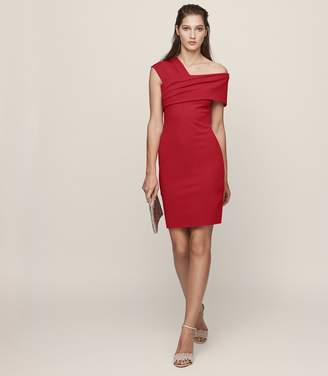 Reiss CRISTIANA ONE-SHOULDER COCKTAIL DRESS Maraschino