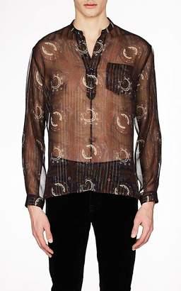 Saint Laurent Men's Paisley Silk Georgette Shirt