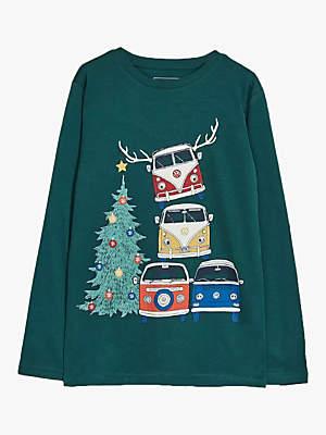 Fat Face Boys' Christmas VW Camper Van T-Shirt, Evergreen