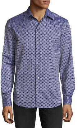 Emporio Armani Men's Diamond-Pattern Flocked Long-Sleeve Woven Shirt
