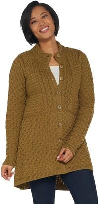 Aran Craft Merino Wool Hi-Low Button Front Sweater