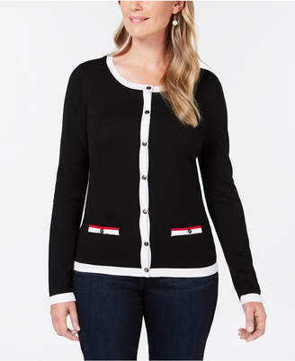 Karen Scott Contrast-Trim Cardigan Sweater