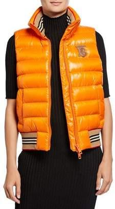 Burberry Icon Stripe-Detail Down Puffer Vest