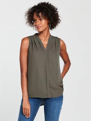 Wallis Sleeveless Pleat Neck Top - Khaki