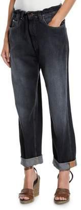 Brunello Cucinelli Dark Faded Denim Boyfriend Jeans with Grosgrain Detail