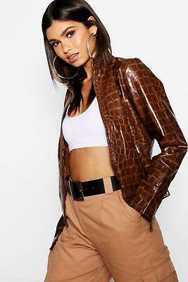 boohoo NEW Womens Crocodile Print PU Jacket in