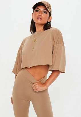 Missguided Camel Oversized Boxy Crop Top