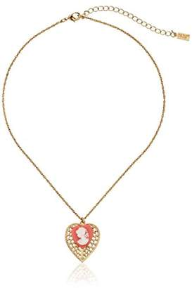 1928 Jewelry Gold-Tone Pink Cameo Heart Overlay Filigree Adjustable Pendant Necklace