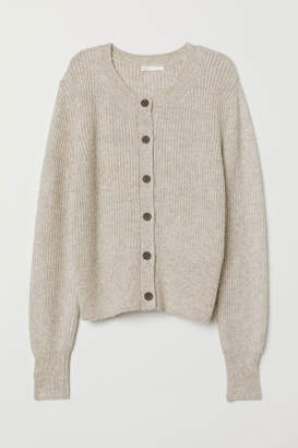 H&M Rib-knit Cardigan - Brown