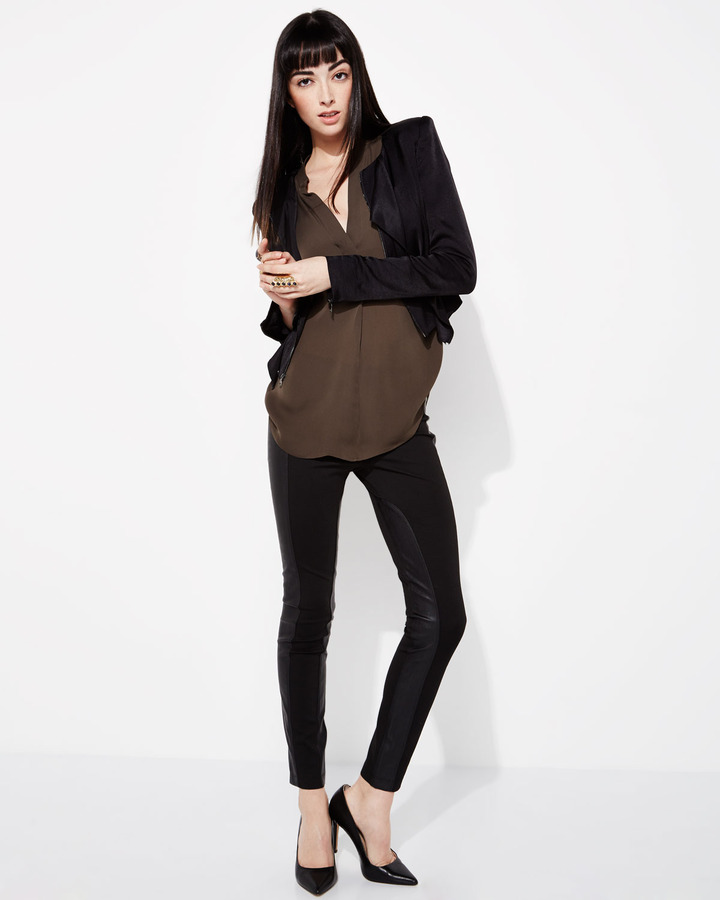 Vince Silk Placket Tunic, Forge