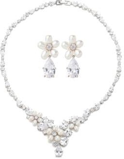 Luxe Emma 3MM White Oval Freshwater Pearl & Crystal Necklace & Drop Earrings Set