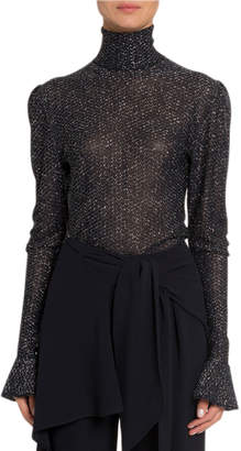Chloé Shimmer Sheer Turtleneck Sweater