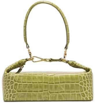 Rejina Pyo green Olivia crocodile embossed leather box bag