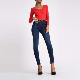 River Island Red rib scoop neck long sleeve bodysuit