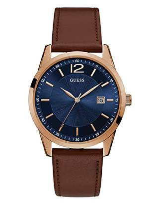 GUESS Brown + Blue Genuine Leather Watch with Date Function. Color: Brown (Model: U1186G3)