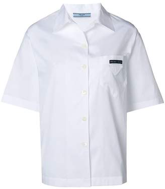 Prada logo patch short-sleeved shirt