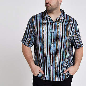 River Island Big and Tall blue aztec print revere shirt