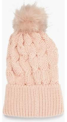 75bf6e6cd77 Dorothy Perkins Womens Pink Cable Knit Pom Hat