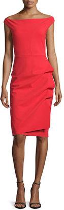 La Petite Robe di Chiara Boni Off-the-Shoulder Draped Cocktail Dress, Red $650 thestylecure.com