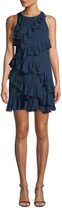 Cinq à Sept Taghrid Sleeveless Ruffled Silk A-Line Short Dress