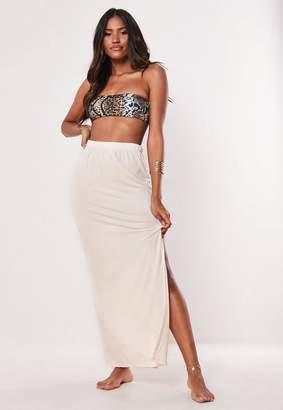 Missguided Stone Jersey Side Split Maxi Skirt