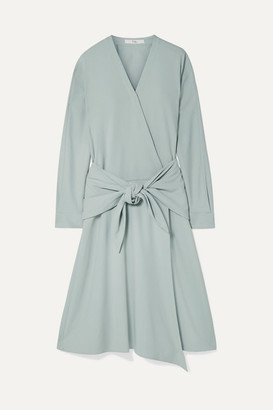Tibi Tie-front Wrap-effect Crepe Midi Dress - Mint