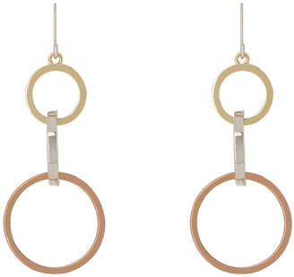 Graduated Tri-Colour Three Hoop Drop Earring GER9628M