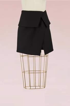 Balmain Asymmetrical Wool Short Skirt