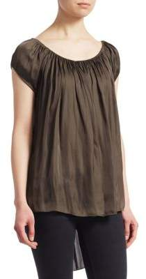 Halston Ruched Cap Sleeve Top
