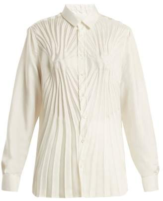 Maison Margiela Pleated Satin Blouse - Womens - White